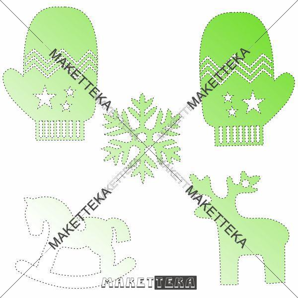 Перчатка, олень, лошадка, снежинка