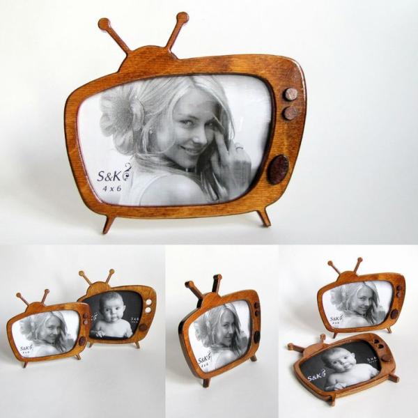 Фоторамка, рамка для фото оригинальная, телевизор, ретро, макет, вектор, для лазерной резки
