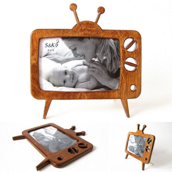 Фоторамка, рамка для фото оригинальная, телевизор, антенна, макет, вектор, для лазерной резки