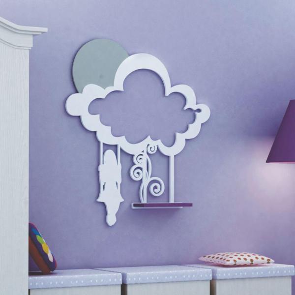 полочка, декор, девочка, качели, облако, полка, в детскую, для лазерной, фрезерной резки, вектор, макет, готовый