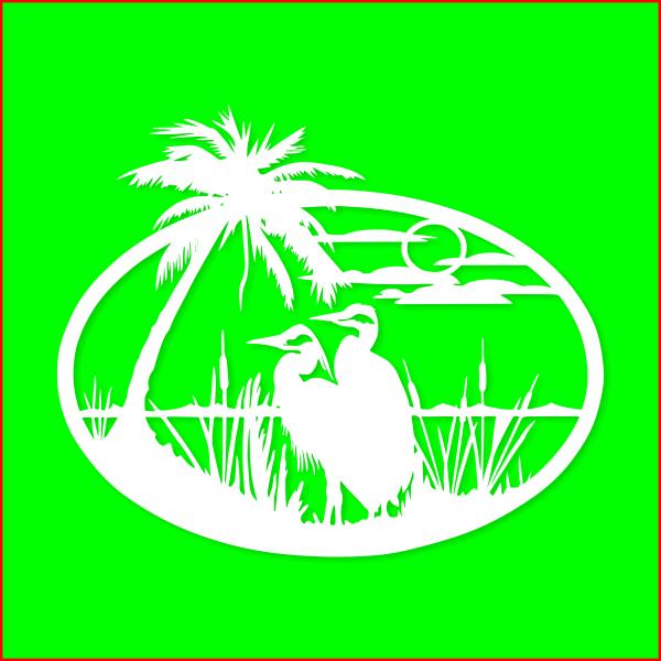 Цапли, пальмы, камыш, природа, закат, для лазерной, фрезерной резки, вектор,  Herons, palm trees, reeds, nature, sunset, for laser, milling, vector, layout, readyмакет, готовый
