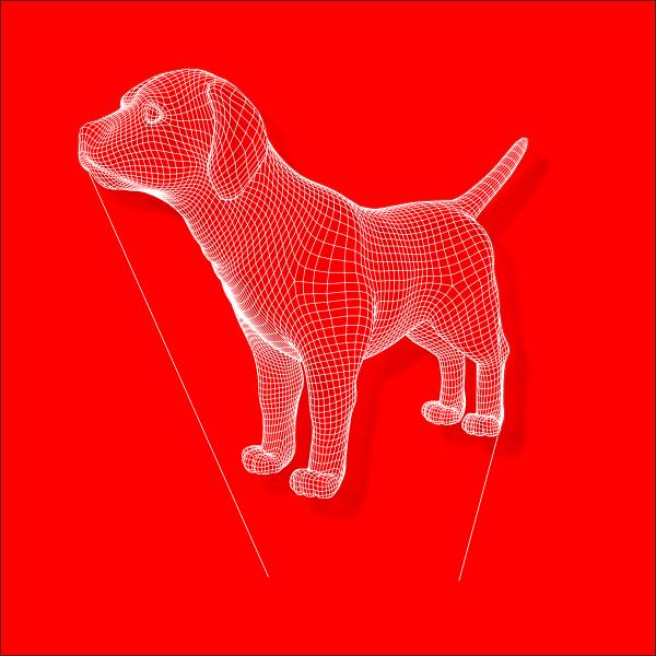 Светильник, собака, пес, Сетка, макет, вектор, линии, с подсветкой, ночник