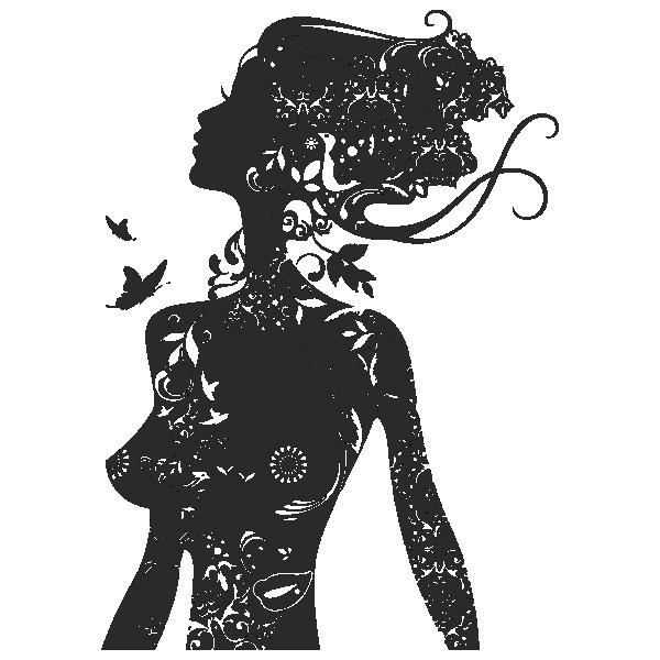 Девушка, цветы, бабочка, завитки, волосы, профиль, грудь