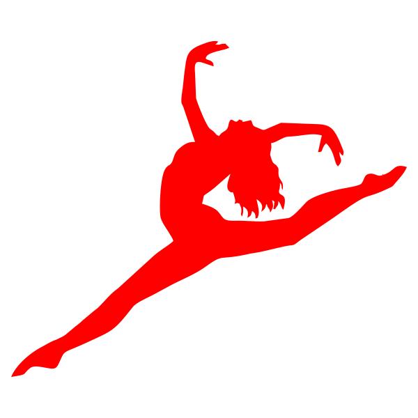 Девушка, танец, прыжок, гимнастика, балет, шпагат, силуэт, человек, фигура