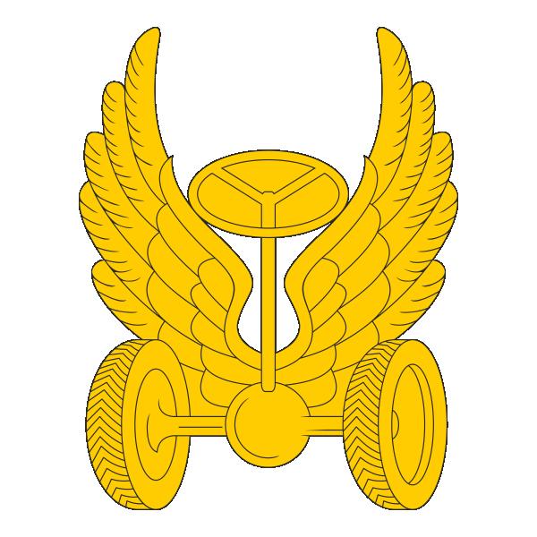 Петличная эмблема Автомобильных войск ВС РФ, герб, крылья, колеса