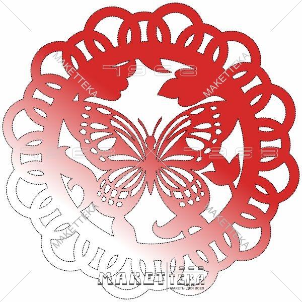 Бабочка, круг, узор, цветы