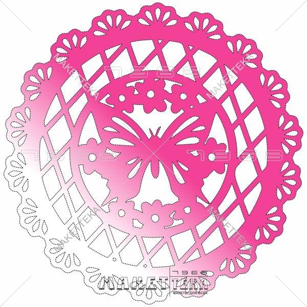 Бабочка, подставка, узор, цветы, круг