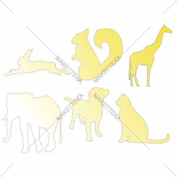 Животные заяц, белка, жираф, слон, собака, кошка