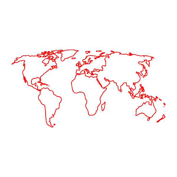 Карта мира, контур, контурная